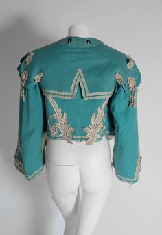 1890's Victorian Antique Tiffany-Blue Applique Wool Bell-Sleeve Cropped Jacket image 6