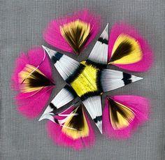 Appliqué flower motif of chicken and pheasant feathers (Lady Amethyst), created by Maison Lemarié, Paris for Christian Dior Haute Couture A/W 2013-14 (c) Vincent Lappartient for Maison Lemarié, Paris