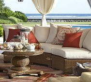 Palmetto All-Weather Wicker Rounded Sectional Set - Honey