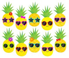 Pineapple Clip Art Pictures, Pineapples in Sunglasses Summer Clipart Set, Fruit Illustrations, Digit Pineapple Clipart, Pineapple Art, Pineapple Delight, Flamingo Birthday, Flamingo Party, Hawaiian Party Decorations, Diy And Crafts, Paper Crafts, Summer Clipart