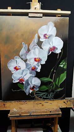 White Orchids titled: Stairway to Heaven - Delmus Phelps – Work Zoom: White O. - White Orchids titled: Stairway to Heaven – Delmus Phelps – Work Zoom: White Orchids titled: St - Painting Lamps, Oil Painting Flowers, Oil Painting On Canvas, Canvas Art, 3 Piece Wall Art, Framed Wall Art, Romantic Artwork, Realistic Oil Painting, Happy Paintings