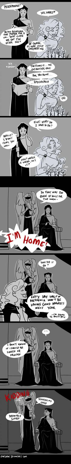 The family business by emedeme Greek Gods And Goddesses, Greek And Roman Mythology, Bd Comics, Cute Comics, Deviantart, Tio Rick, Uncle Rick, Hades And Persephone, Lore Olympus