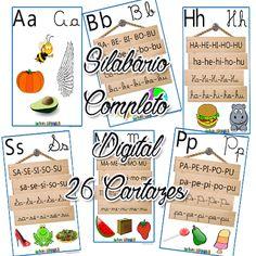 Silabário Digital Sílabas Simples envio por e-mail 26 Cartazes Coloridos