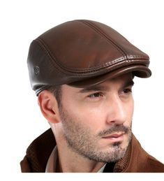 Shop Men's Real Cowhide Leather Beret Hunting Cap Beanie Trucker Cap Mens Sports Hat Ancient Brown and discover a large selection of Men's Newsboy Caps at affordable prices. Leather Hats, Leather Men, Cowhide Leather, Brown Leather, Leather Baseball Cap, Baseball Caps, Winter Hats For Men, Mens Winter, Hunting Clothes