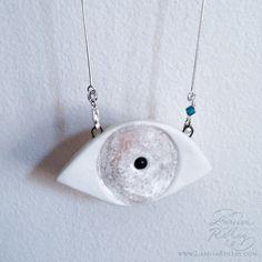 Evil Eye Porcelain Silver Necklace by LarissaRolleyAtelier on Etsy