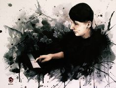 Dan Howell and the piano #03 ~ danisnotonfire - watercolour painting by szluu.tumblr.com