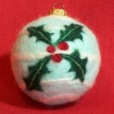 needle felted christmas images | Needle Felted Christmas Ornament - Holly. | Christmas