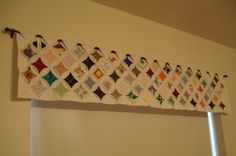 Cathedral window quilt valance