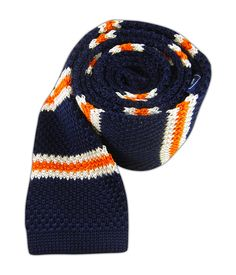 Knit Country Stripe - Navy/Orange - Knit Country Stripe - Navy/Orange - Browse our Bow Ties, Cufflinks, Pocket Squares and Tie Bars