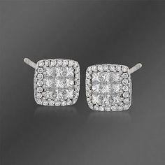 Diamond Stud Earrings in White Gold Diamond Earing, Diamond Cluster Ring, Diamond Studs, Diamond Engagement Rings, Diamond Jewelry, Gold Jewelry, Jewelery, Fine Jewelry, Princess Cut Diamonds