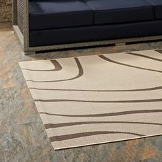 Modway Surge Swirl Abstract 5x8 Indoor and Outdoor Area Rug in Light and Dark Beige