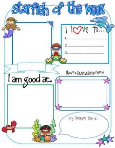 Ocean Starfish Friend of the Week Poster from Pixie Chicks Shop  on TeachersNotebook.com -  (1 page)