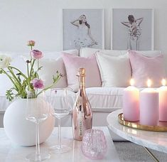 Shabby Chic Pink Sofa Ideas to Brighten Up Your Living Room 26 Pastel Room Decor, Diy Room Decor, Living Room Decor, Pastel Living Room, Living Rooms, Blush Living Room, Living Area, Romantic Living Room, Romantic Home Decor