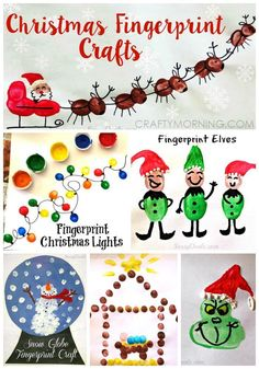 Adorable Christmas fingerprint crafts for kids to make! Here are a bunch of christmas fingerprint crafts for kids to make! Find the grinch, snowmen, reindeers, santa clause, and many more fun art projects! Preschool Christmas, Christmas Activities, Christmas Crafts For Kids, Christmas Projects, Winter Christmas, Holiday Crafts, Holiday Fun, Christmas Holidays, Christmas Handprint Crafts