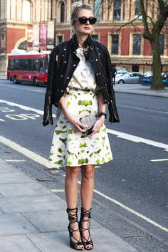 Love the mix of flirty florals w/ the edgy rock n' roll chic of the motorcycle jacket + strappy heels.