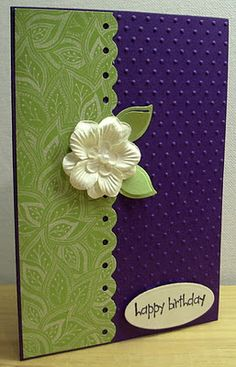"""card by Jenny... she says this is  """"Purple, Green and White""""..... which is one of my favorite color combos, BUT.... I like this because it looks like a midnight blue, green and a pastel yellow on my monitor!... (change sentiment)"""