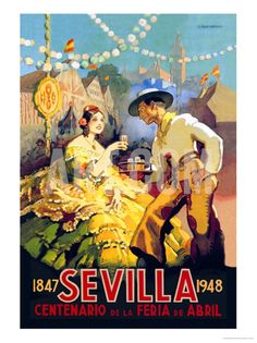 Sevilla Centenario de la Feria de Abril vintage poster by Newell Convers Wyeth, via Art.co.uk