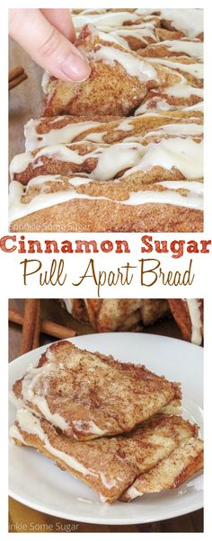 Cinnamon Sugar Pull Apart Bread. Soft, fluffy and gooey and loaded with cinnamon sugar, you're going to want to make this bread over and over again!