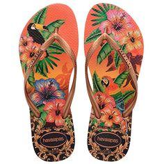Havaianas - Tongs Femme Slim Tropical Orange - LaBoutiqueOfficielle.com