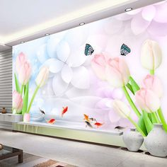 Lovely Pink Tulip Wall Mural