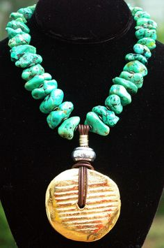 Necklace | Green Turquoise | Gold | Pendant | XO Gallery | XO Gallery