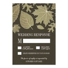 Rustic Burlap Gold Fall Leaves Wedding RSVP Cards