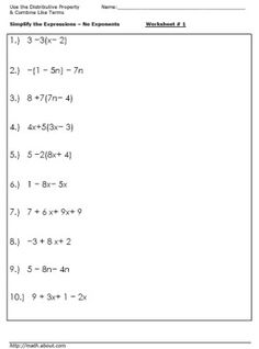 Worksheet 6th Grade Math Worksheets Algebra the ojays algebra worksheets and on pinterest practice simplifying expressions with these worksheet 1 use distributive property