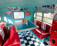 No more row seating in this old school cruiser, the fresh interior now looks more like a ' 50s diner.