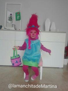 Trolls Poppy. Disfraz que hice para la pequeña Martina.