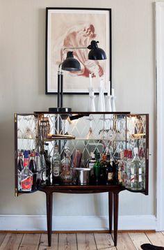 mirrored cabinet  W/ liquor .... double delicious