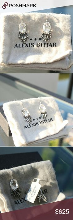 Sapphire Alexis Bittar earrings To die for! So gorgeous.  Quite a statement.  NWT.  Real white sapphire and quartz. Alexis Bittar Jewelry Earrings