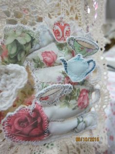 Tea party fabric journal created by Annie(msgardengrove1)