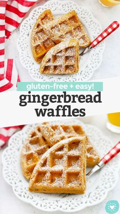 Gluten Free Gingerbread Waffles - crispy exterior, fluffy interior, and perfectly spiced. The perfect holiday breakfast! (Gluten free, dairy free)// gluten free Holiday breakfast // gluten free Christmas breakfast // gluten free waffles recipe // #waffles #gingebread #glutenfree #brunch #breakfast Dairy Free Breakfasts, Gluten Free Recipes For Breakfast, Dairy Free Recipes, Gluten Free Gingerbread, Healthy Waffles, Gluten Free Waffles, Christmas Breakfast, Pancakes And Waffles