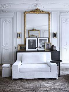 Grand Gold mirror Frames White seat