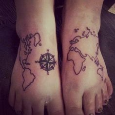 31 Incredible Map Tattoos photo Callina Marie's photos. And now the world is on the top of the feet!