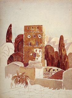 Louis Kahn Sketches | Louis I. Kahn (Am. 1901-1974) Tower and Cortile of Villa 1929 ...