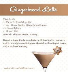 yummy gingerbread latte recipe. one of my favorite christmas time drinks.