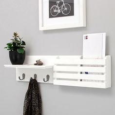 Nexxt Sydney Mail Holder 3 Hook Wall Shelf