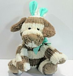 Kelly Toys Chenille Plush Mint Gray Stripe Puppy with Bunny Rabbit Ears | eBay Rabbit Ears, Bunny Rabbit, Grey Bunny, Bird Toys, Plush Animals, Baby Disney, Grey Stripes, Mint, Teddy Bear