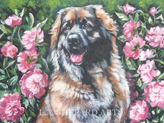 "A Leonberger dog art portrait print of an LA Shepard painting 12x16"". Here's a wonderful tribute to your best friend and favorite breed- the Leonberger ! from an original painting by L.A.Shepard, whose unique, beautiful work has been collected around the world. Your print will be individually signed under the image by the artist, and initialed on the image. Copyright text is for display purposes only and will not appear on your artwork. The image is 12x16 inches and is printed on 13x19""…"