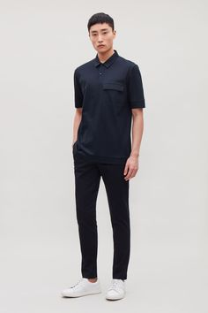 Model front image of Cos polo shirt with flap pocket in blue