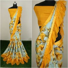 Rs 999 only Checkout this hot & latest Sarees Fancy Silk Crepe Women's Saree Fabric: Saree - Silk Crepe, Blouse - Silk Crepe Size: Saree Length With Running Blouse - Mtr Work: Printed & Ruffle Work Sizes Available - Free Size Lace Saree, Crepe Saree, Silk Crepe, Silk Sarees, Saree Floral, Indian Bridal Wear, Indian Wedding Outfits, Indian Outfits, Fancy Sarees Party Wear