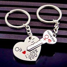 0156c25100 Couple Keychain Trinket Love Heart Key Chains Lock Keyring. Boyfriend  GirlfriendGift ...