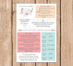 """A rustic infographic wedding program to entertain your guests. **This listing is for one high resolution (300 dpi) 8 x 5.5"""" printable wedding program (2 sides) designed by Peekaboo Penguin. The product will be emailed to you. No physical copy will be sent to you. **You will receive a JPG of your program within 1-3 business days (Monday through Friday only). It will be sent to the email address you have on file with Etsy unless you request otherwise before the first proof is sent. From there…"""