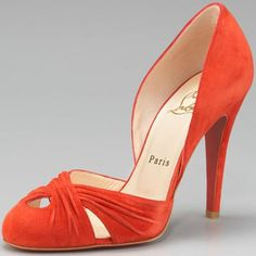 Christian Louboutin Commode Suede d'Orsay 120 Pumps Orange