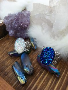 Druzy Silver Lace Ring Blue Ring White Druzy Ring Antique Vintage Style ~ Sale Expires Today