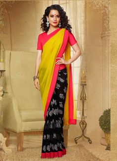 #KanganaRanaut printed black and yellow colour #georgettesaree shop online at #craftshopsindia