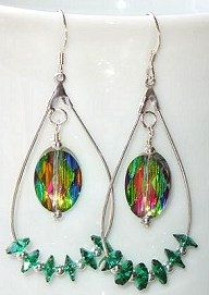 Swarovski Crystal Vitrail Medium, Emerald & Sterling Silver Beaded Teardrop Hoop Earrings