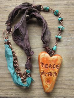 Peace Within Rustic Boho Gypsy Polymer Clay Heart Pendant Mixed Media Necklace withSari Silk Ribbon, Chain and Magnesite Beads Free Spirit by SpontaneousSoul on etsy