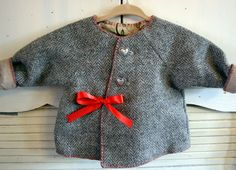 Upcycled baby girl's jacket made from men's wool sportcoat